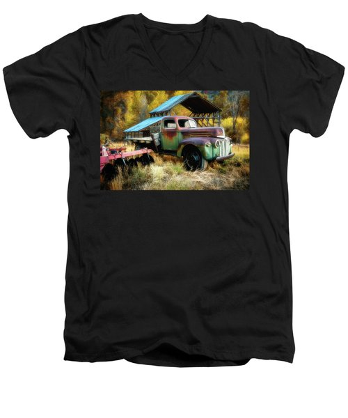 In The Autumn Of Life - 1945 Ford Flatbed Truck Men's V-Neck T-Shirt