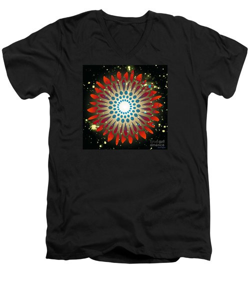 Men's V-Neck T-Shirt featuring the digital art In The Beginning by Leanne Seymour