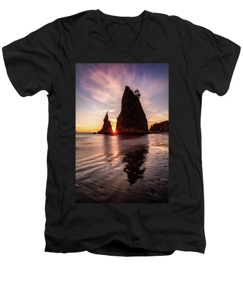 Men's V-Neck T-Shirt featuring the photograph In The Heart Of The Sea Stacks by Pierre Leclerc Photography
