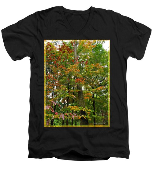 Men's V-Neck T-Shirt featuring the photograph In The Height Of Autumn by Joan  Minchak