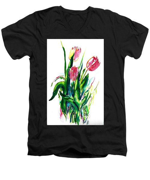 In The Pink Tulips Men's V-Neck T-Shirt