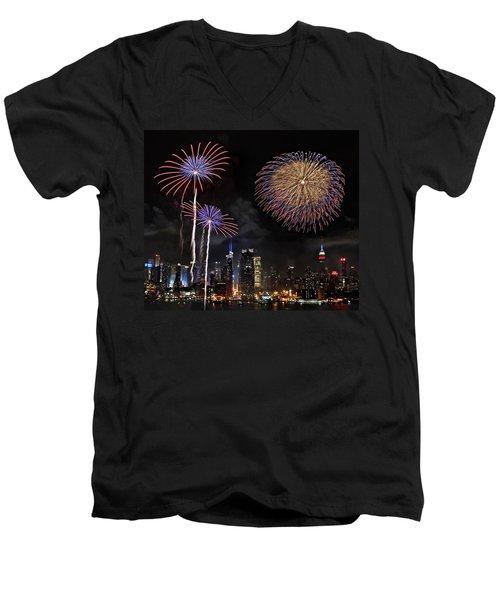 Independence Day Men's V-Neck T-Shirt by Roman Kurywczak