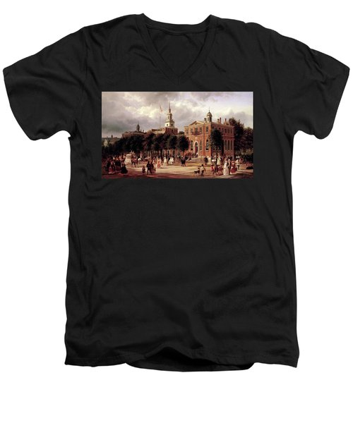 Men's V-Neck T-Shirt featuring the painting Independence Hall by Ferdinand Richardt