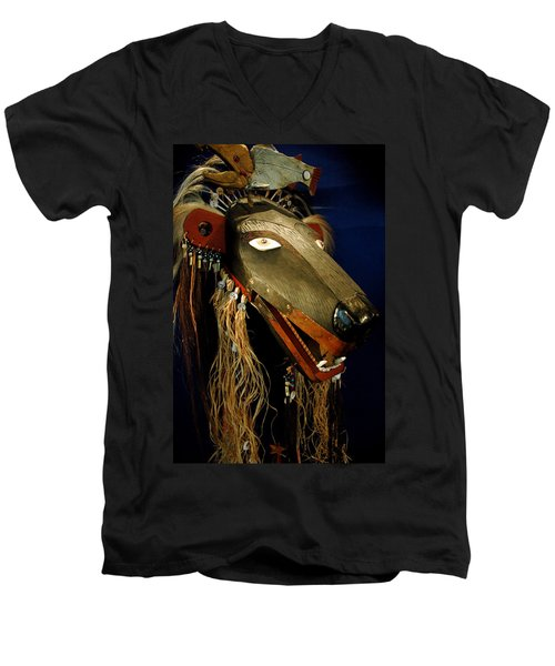 Indian Animal Mask Men's V-Neck T-Shirt by LeeAnn McLaneGoetz McLaneGoetzStudioLLCcom