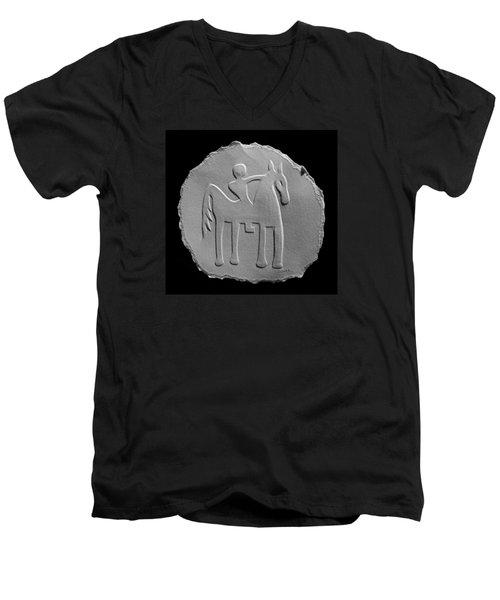 Indian Art - Horse Rider Men's V-Neck T-Shirt by Suhas Tavkar