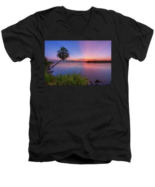 Indian River State Park Bursting Sunset Men's V-Neck T-Shirt by Justin Kelefas