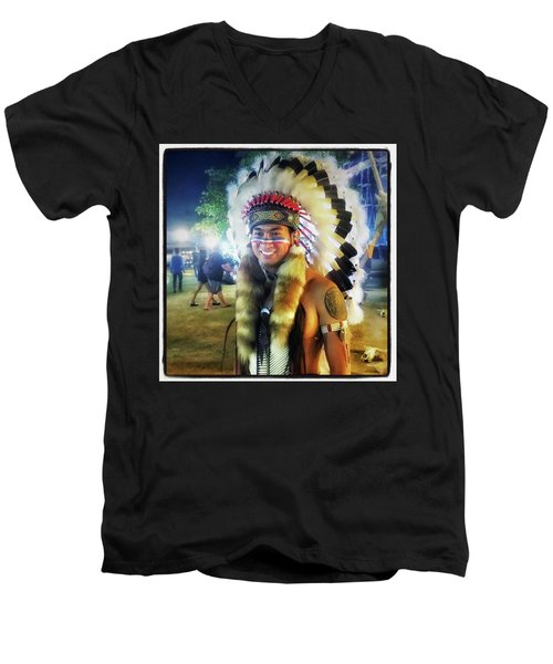 Men's V-Neck T-Shirt featuring the photograph Indians Invade Thailand. Cowboys Too by Mr Photojimsf
