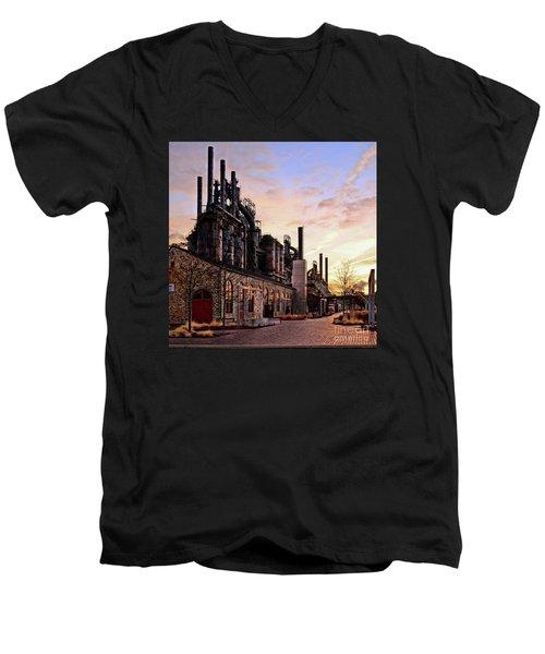 Men's V-Neck T-Shirt featuring the photograph Industrial Landmark by DJ Florek