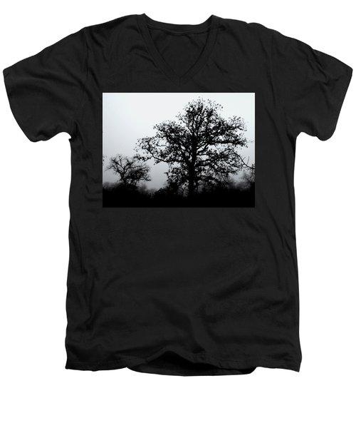 Ink And Photo Study Of Live Oaks Men's V-Neck T-Shirt by Carolina Liechtenstein
