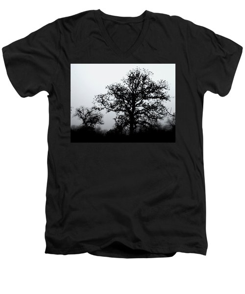 Ink And Photo Study Of Live Oaks Men's V-Neck T-Shirt