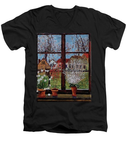 Inside Looking Out Men's V-Neck T-Shirt by Mike Caitham