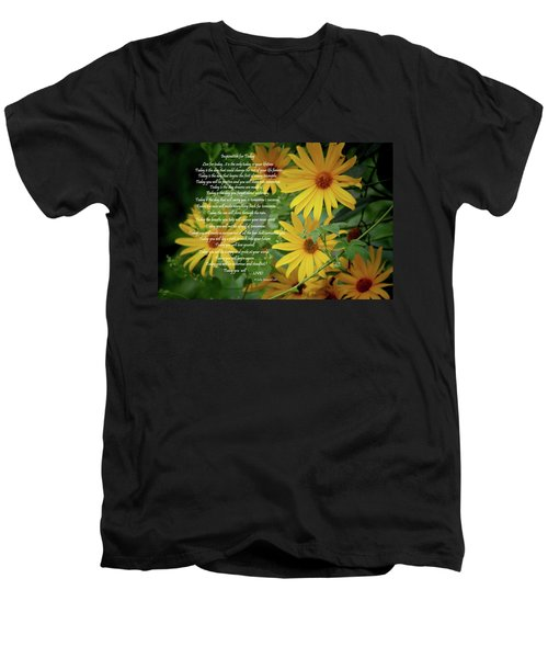 Men's V-Neck T-Shirt featuring the digital art Inspiration For Today Floral by Cathy  Beharriell