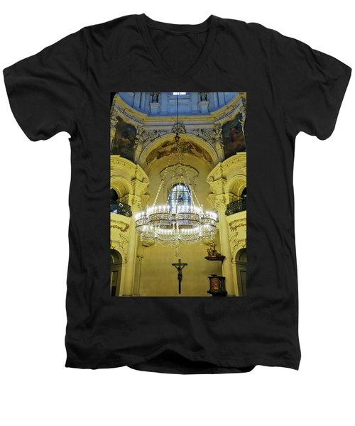 Interior Evening View Of St. Nicholas Church In Prague Men's V-Neck T-Shirt