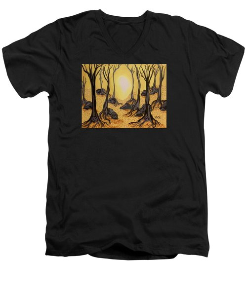Into The Light Men's V-Neck T-Shirt by Carolyn Cable