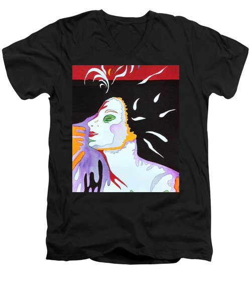 Men's V-Neck T-Shirt featuring the painting Into The Light by Diana Bursztein