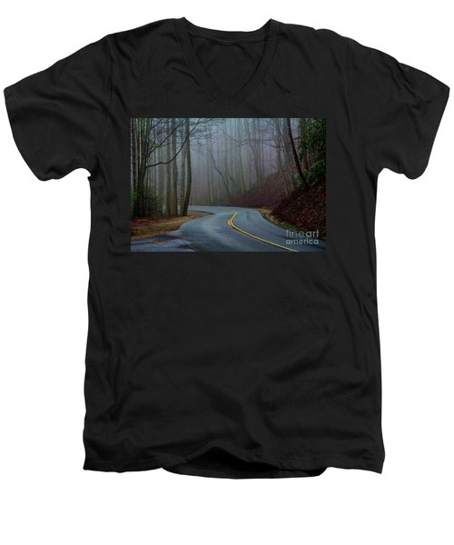 Men's V-Neck T-Shirt featuring the photograph Into The Mist by Douglas Stucky
