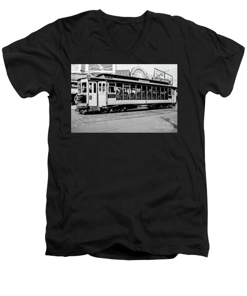 Men's V-Neck T-Shirt featuring the photograph Inwood Crosstown Trolley  by Cole Thompson