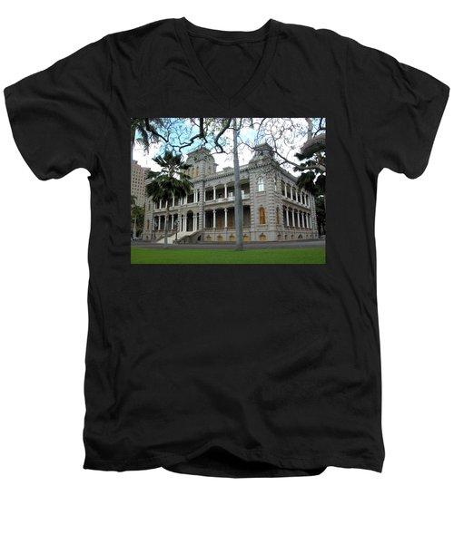 Men's V-Neck T-Shirt featuring the photograph Iolani Palace, Honolulu, Hawaii by Mark Czerniec