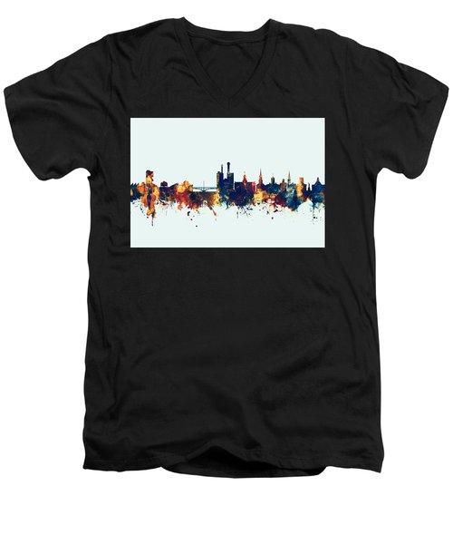 Men's V-Neck T-Shirt featuring the digital art Iowa City Iowa Skyline by Michael Tompsett