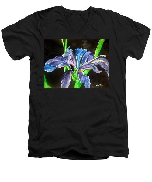 Iris Men's V-Neck T-Shirt by Lil Taylor