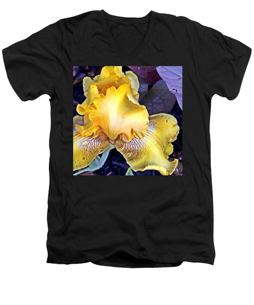 Men's V-Neck T-Shirt featuring the photograph Iris Supreme by Vonda Lawson-Rosa