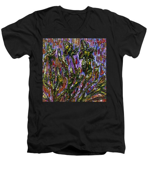 Men's V-Neck T-Shirt featuring the painting Irises Carousel by Vadim Levin