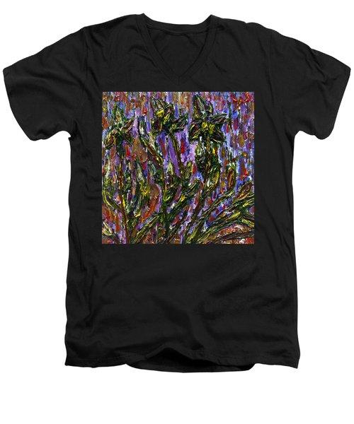 Irises Carousel Men's V-Neck T-Shirt by Vadim Levin