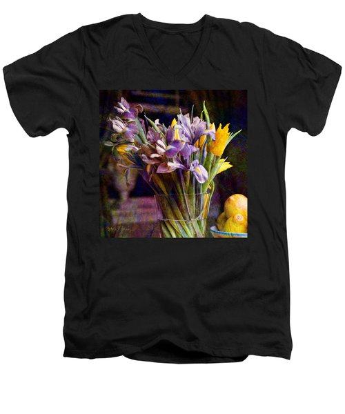 Irises In A Glass Men's V-Neck T-Shirt