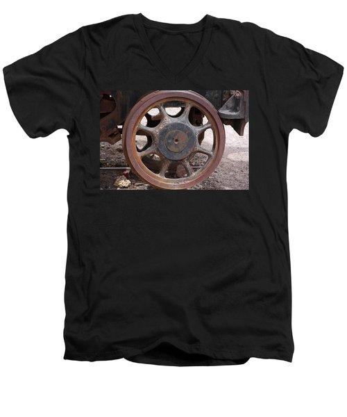 Men's V-Neck T-Shirt featuring the photograph Iron Train Wheel by Aidan Moran