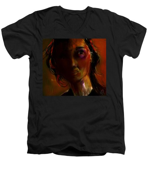 Men's V-Neck T-Shirt featuring the painting Isabella by Jim Vance