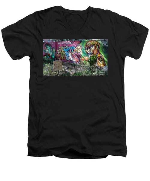 Men's V-Neck T-Shirt featuring the photograph Isham Park Graffiti  by Cole Thompson