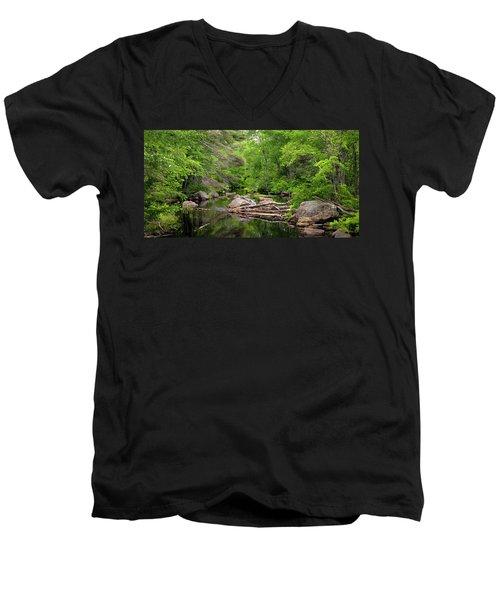 Isinglass River, Barrington, Nh Men's V-Neck T-Shirt by Betty Denise
