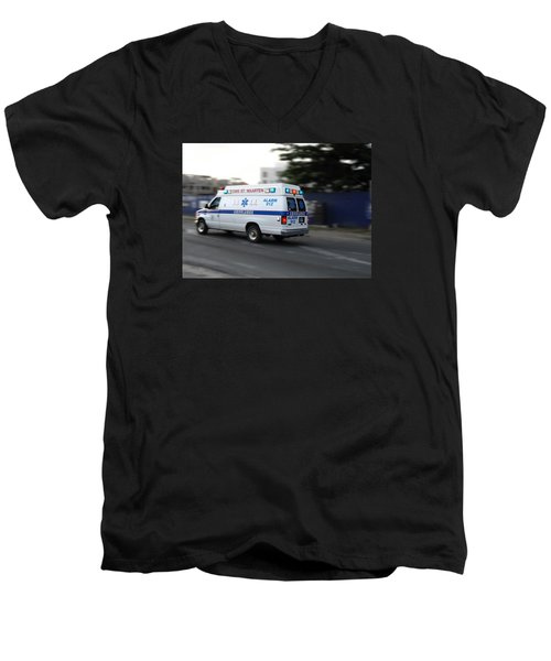 Men's V-Neck T-Shirt featuring the photograph Island Ambulance by RKAB Works