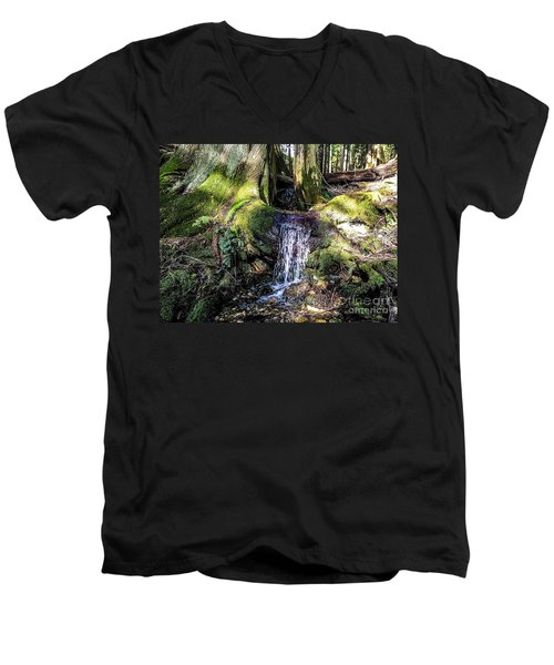 Men's V-Neck T-Shirt featuring the photograph Island Stream by William Wyckoff