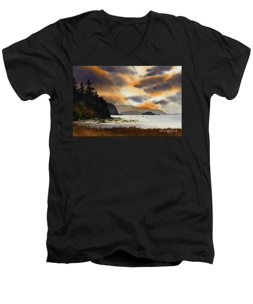 Men's V-Neck T-Shirt featuring the painting Islands Autumn Sky by James Williamson