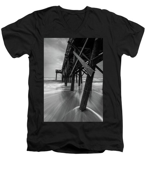 Men's V-Neck T-Shirt featuring the photograph Isle Of Palms Pier Water In Motion by Donnie Whitaker