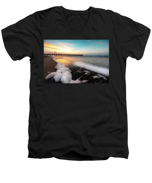 Isle Of Palms Pier Sunrise And Sea Foam Men's V-Neck T-Shirt