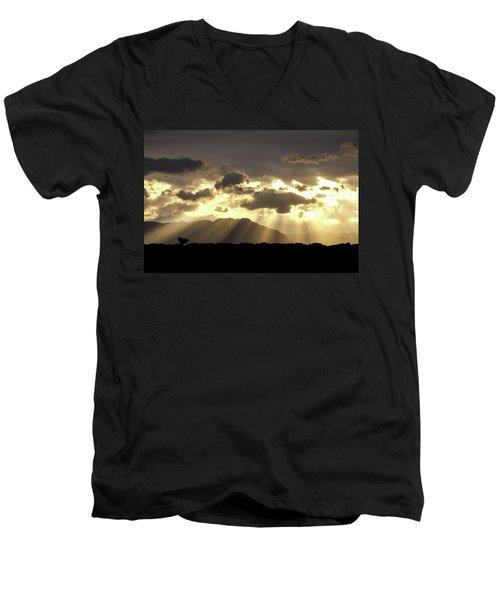 Israeli Desert Sunrise At Timna Men's V-Neck T-Shirt by Yoel Koskas