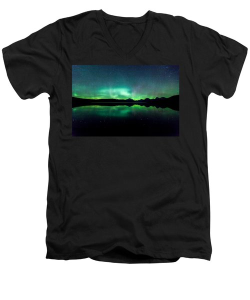 Men's V-Neck T-Shirt featuring the photograph Iss Aurora by Aaron Aldrich