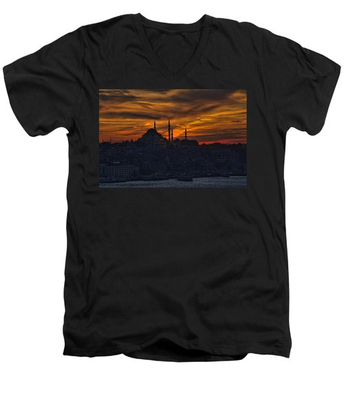 Istanbul Sunset - A Call To Prayer Men's V-Neck T-Shirt by David Smith