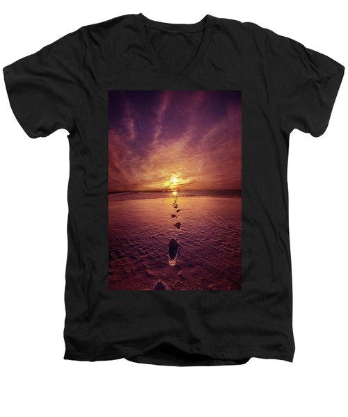 Men's V-Neck T-Shirt featuring the photograph It Is Then That I Carried You by Phil Koch