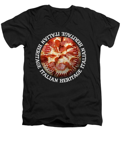 Men's V-Neck T-Shirt featuring the photograph Italian Heritage Baseball Pizza Square by Andee Design