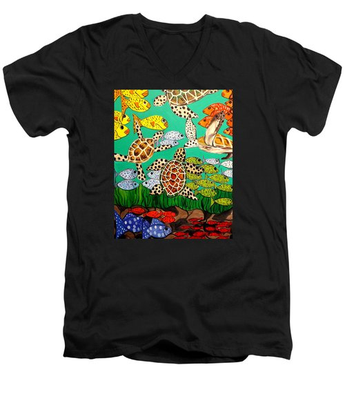 It's Turtle Time Men's V-Neck T-Shirt by Lisa Aerts
