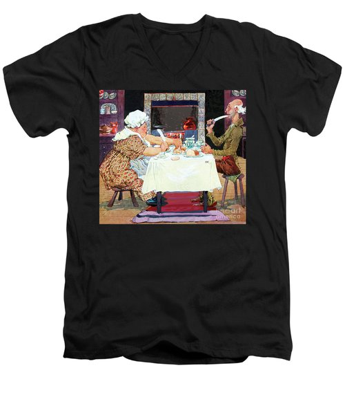 Men's V-Neck T-Shirt featuring the painting Jack Sprat Vintage Mother Goose Nursery Rhyme by Marian Cates