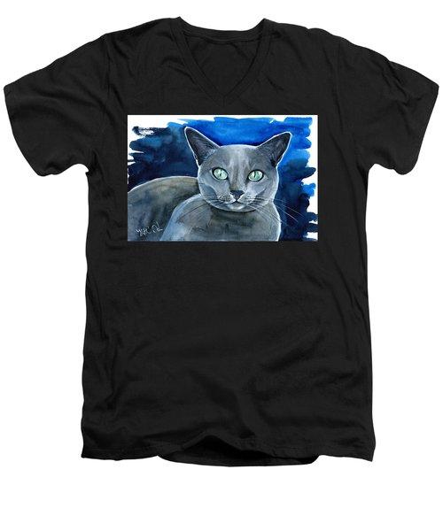 Jackpot - Russian Blue Cat Painting Men's V-Neck T-Shirt