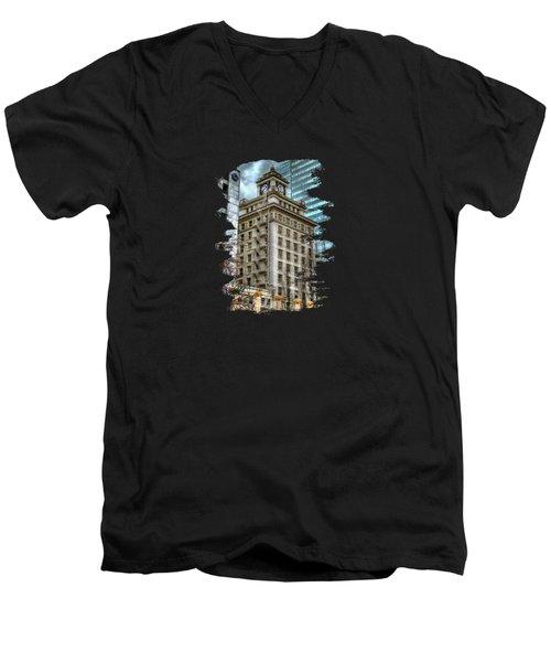 Jackson Tower Portland Oregon Men's V-Neck T-Shirt by Thom Zehrfeld