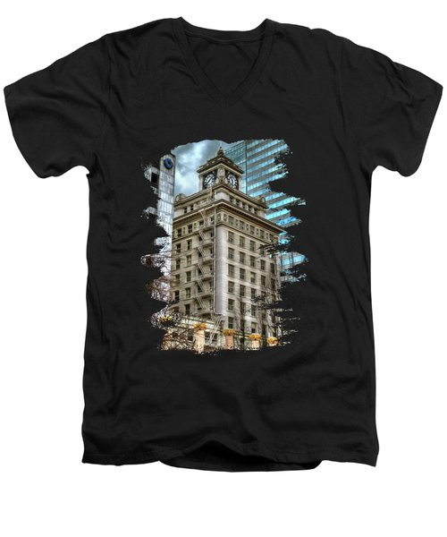 Jackson Tower Portland Oregon Men's V-Neck T-Shirt