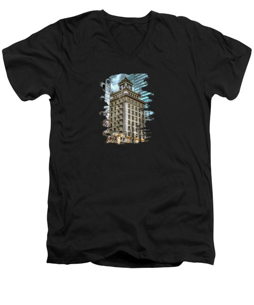 Jackson Tower Portland Oregon Men's V-Neck T-Shirt