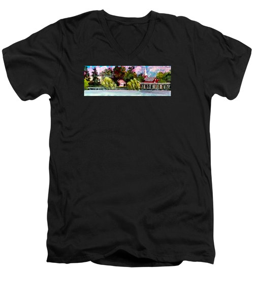 Jacksonville Nc Waterfront Men's V-Neck T-Shirt