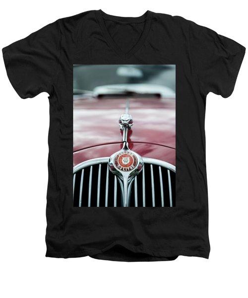 Jaguar Grille Men's V-Neck T-Shirt by Helen Northcott